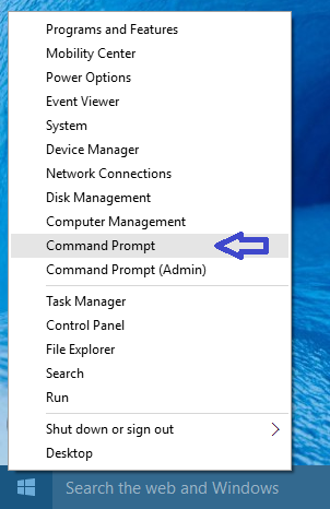 open command prompt in regular or admin mode.