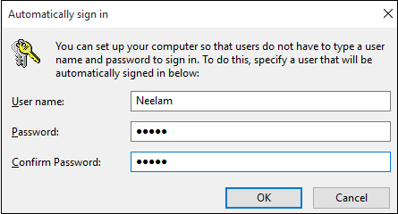 automatically sign in window