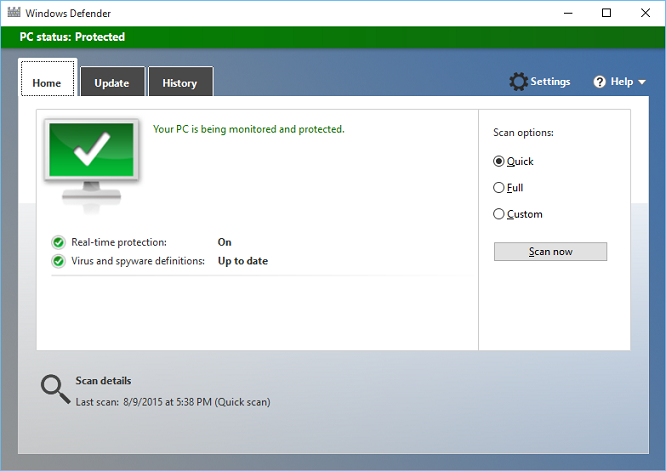 Windows defender app