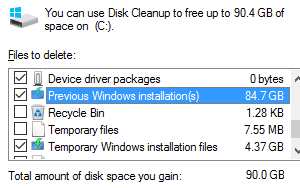 How to clean up disk space after Windows 10 installation or upgrade