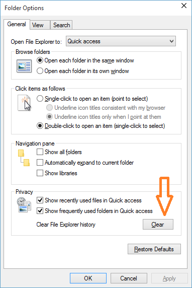 Clear or delete File Explorer history