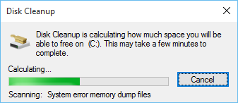disk cleanup checking for free space