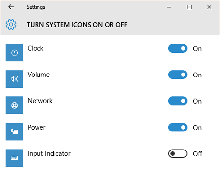 turn system icons on or off