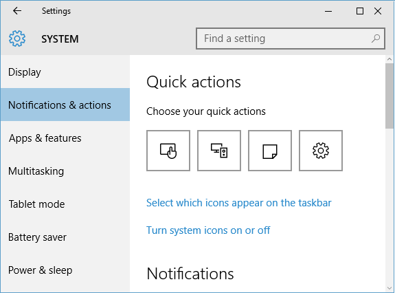 quick actions settings