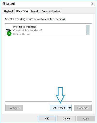 Set default audio device