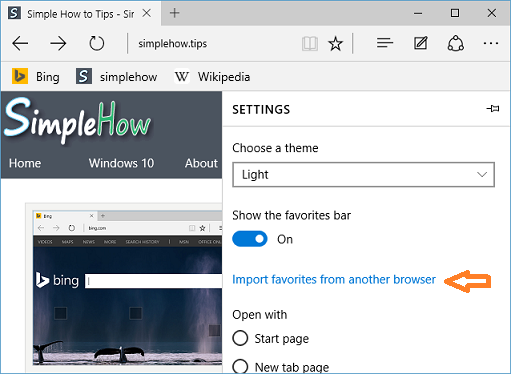 Import favorites from another browser