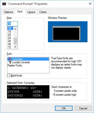 change command prompt font size