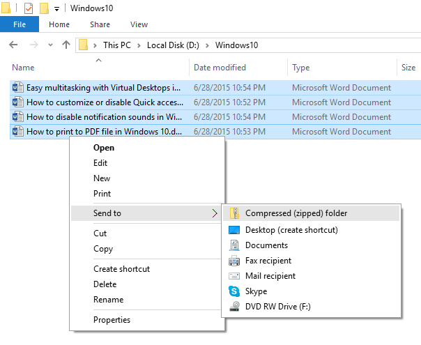 How to zip and unzip files in windows 10 simplehow for Window zip file