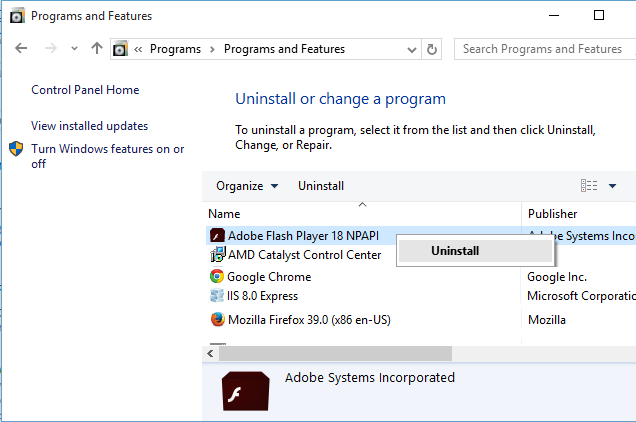 Uninstall Adobe Flash Player
