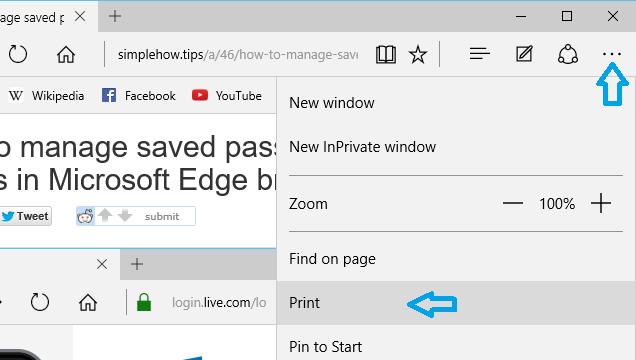 Open Print settings dialog