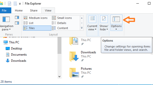 open folder option from view menu