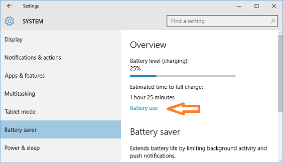 battery use screen