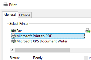 How to print to PDF file in Windows 10
