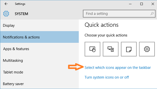 select which icons appear on the taskbar