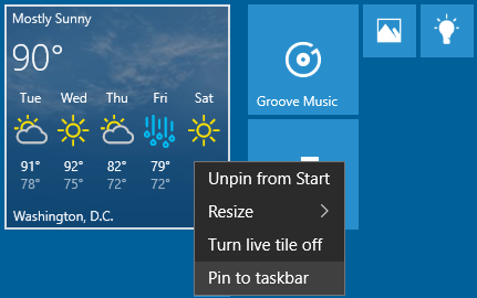 Pin Application to Taskbar from live tile