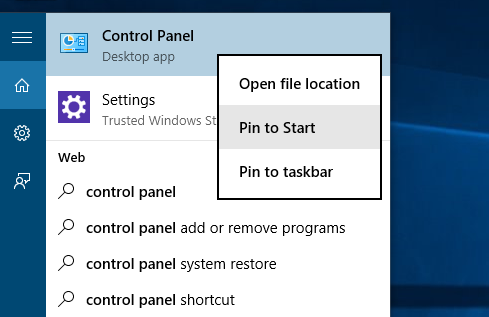 Pin control panel to start or taskbar