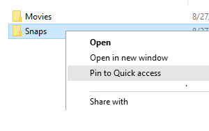How to pin or unpin folders to quick access in Windows 10