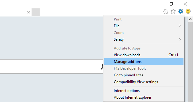 Internet explorer Manage ad-ons menu