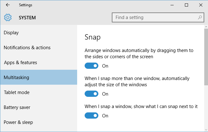 Customizing Snap settings