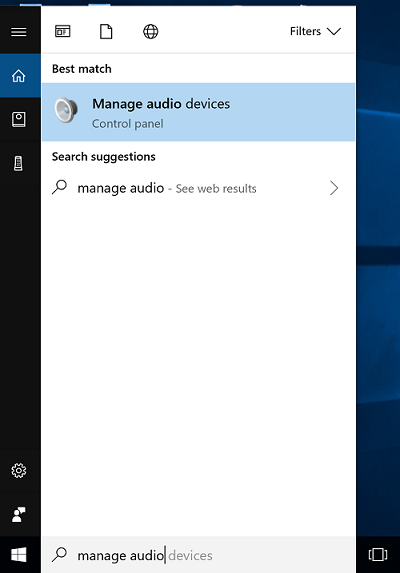 windows manage audio devices